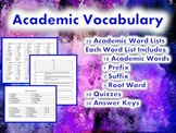 Whole Year Academic Vocabulary: Word Lists, Quizzes and An