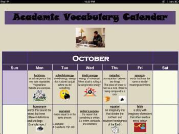 Academic Vocabulary Calendar (October)