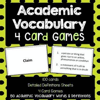 Academic Vocabulary Card Games