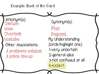 Academic Vocabulary Card Template--UPDATED