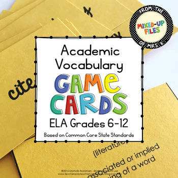 Academic Vocabulary ELA Game Cards or Flashcards