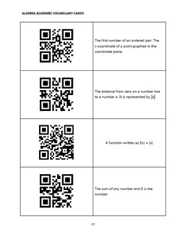 Academic Vocabulary Cards with QR Codes - Algebra 1 & 2