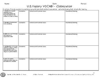 Academic Vocabulary - Colonization