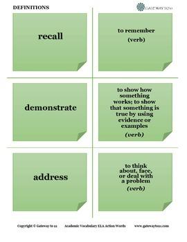 Academic Vocabulary ELA Action Words (Common Core Aligned)
