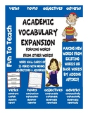 Academic Vocabulary Expansion - Academic Vocabulary Word Wall