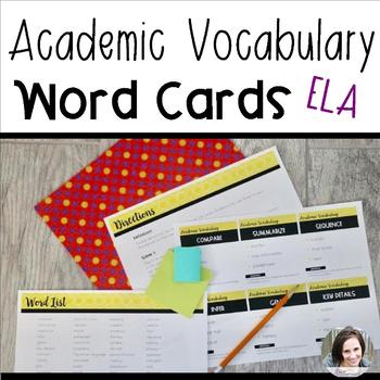 Academic Vocabulary Game Word Cards