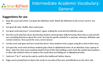 Academic Vocabulary: General - SmartEdTech Communication Cards