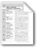 Academic Vocabulary, Grade 4: depend, dependent, independent, independently