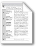 Academic Vocabulary, Grade 5: conform, correspond, corresponding, correspondence
