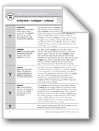 Academic Vocabulary, Grade 5: criticism, critique, critical
