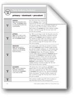 Academic Vocabulary, Grade 5: primary, dominant, prevalent