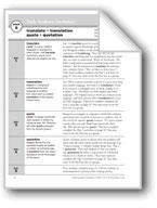 Academic Vocabulary, Grade 5: translate, translation, quote, quotation