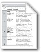 Academic Vocabulary, Grade 6+: concise, compact, condensed, condense, cohesive
