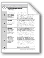 Academic Vocabulary, Grade 6+: distinguish, discriminate, distinction