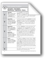 Academic Vocabulary, Grade 6+: speculate, speculation, hypothesize, hypothesis, theory