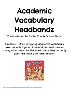 Academic Vocabulary Headbandz