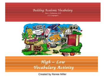 Academic Vocabulary High Low Activity