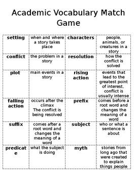 Academic Vocabulary Match Game
