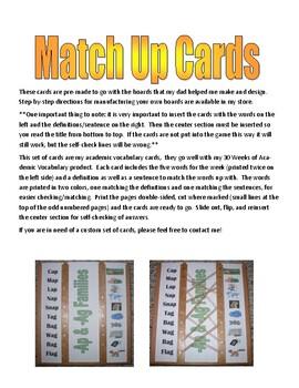 Academic Vocabulary Match Up Cards