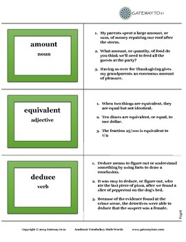 Academic Vocabulary Math Words (Common Core Aligned)