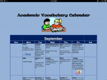 Academic Vocabulary Monthly Calendar (September)