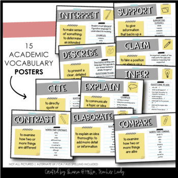 Test Prep Vocabulary Posters + Student Reference Page | Academic Vocabulary List