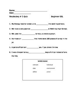 Academic Vocabulary Quiz for Beginner ESL-Group 2 Words