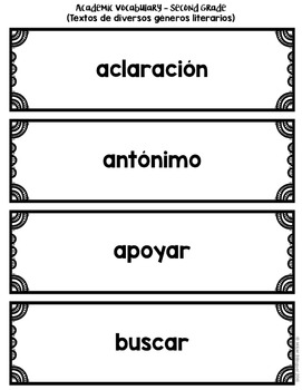 Academic Vocabulary Second Grade {SPANISH}