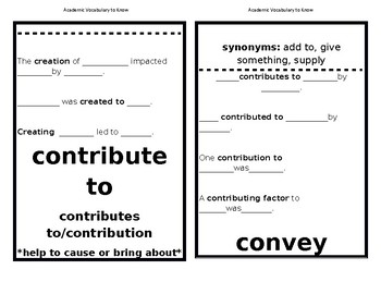 Academic Vocabulary Sentence Frames