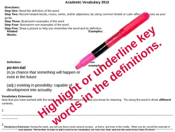 Academic Vocabulary Set 3 (NEW)