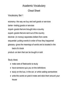 Grade 3 Academic Vocabulary Sets 1-10