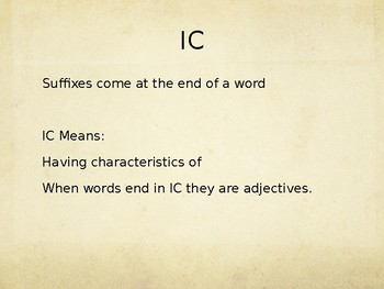 Academic Vocabulary -Suffix IC
