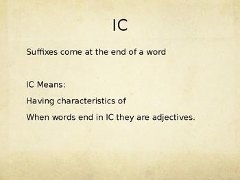Academic Vocabulary -Suffix IC