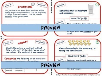 Academic Vocabulary Task Cards Great for ESL Special Education