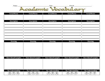 Academic Vocabulary Template