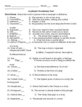 Academic Vocabulary Test w/Answer Key