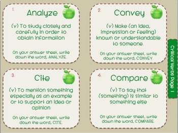 Academic Vocabulary-The Core of 6th Grade Success-Task Cards and Flash Cards
