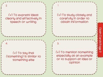 Academic Vocabulary-The Core of 8th Grade Success-Task Cards and Flash Cards