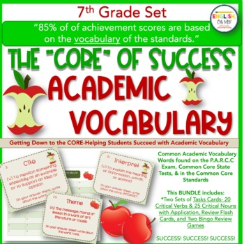Academic Vocabulary-The Core of 7th Grade Success-Task Cards and Flash Cards