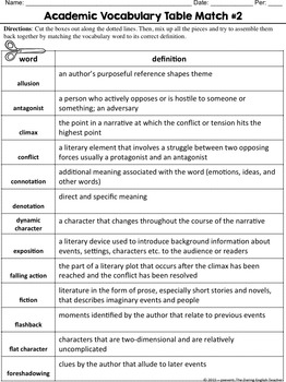 Academic Vocabulary Volume 2: Fiction and Narrative Writing