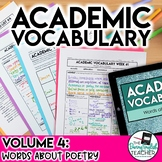 Academic Vocabulary Volume 4: Words about Poetry