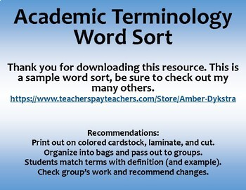 Middle School Academic Vocabulary Word Sort