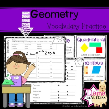 Geometry Vocabulary Cards and Activities