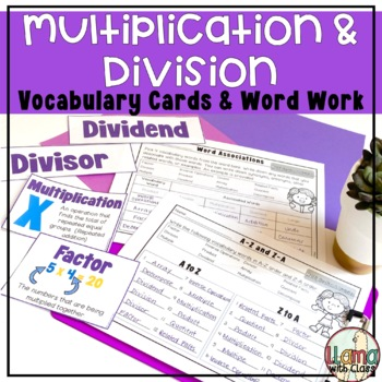 Multiplication and Division Vocabulary Cards and Word Work Activities