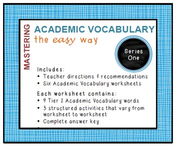Academic Vocabulary Worksheets (Common Core, Tier 2 words): Series 1