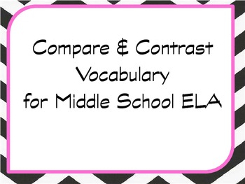 Academic Vocabulary for CCS - Compare & Contrast Terms