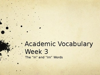 Academic Vocabulary - in and im