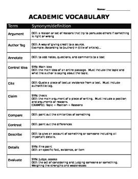 Academic Vocabulary list and practice