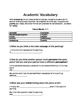 Academic Vocabulary using Kadinsky