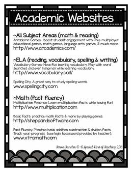 Academic Websites {A Handout For Parent/ Teacher Conferences}